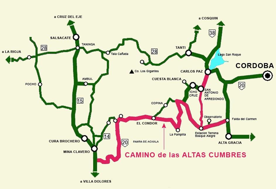 Mapa del Camino de las Altas Cumbres, Córdoba