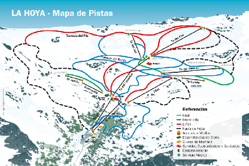 Mapa de Pistas de La Hoya, Esquel, Chubut