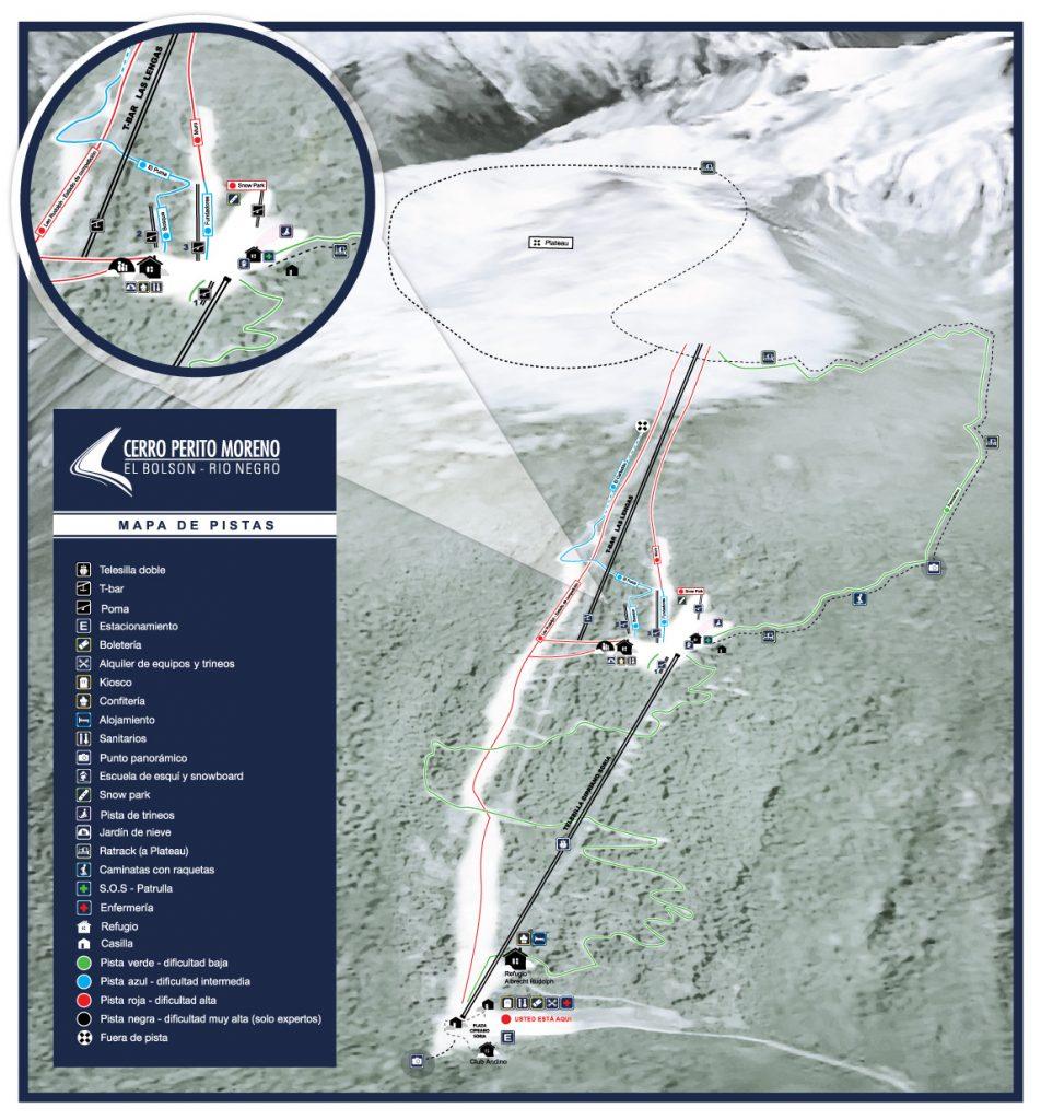 Cerro Perito Moreno, El Bolsón, Río Negro - Mapa de Pistas