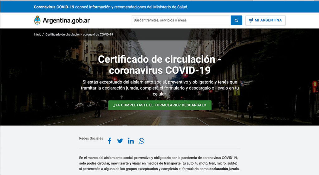 Así se ve la página de inicio de argentina.cob.ar/circular desde donde se realiza el trámite para sacar el nuevo permiso para circular.