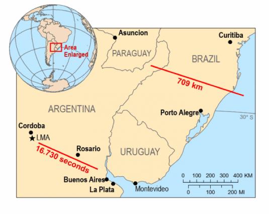 Registro del relámpago de mas larga duración del mundo