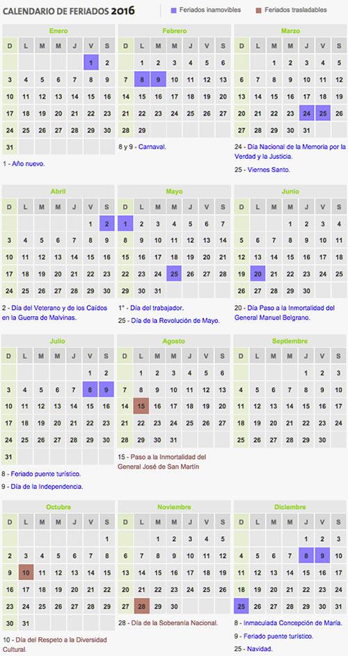 Calendario de Feriados 2016