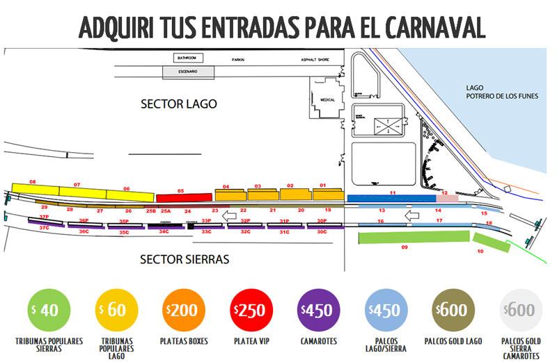 Las ubicaciones y las entradas del carnaval de Rio en San Luis