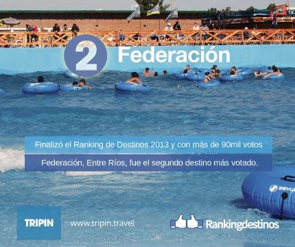 Federacion en Entre Rios es el segundo destino más votado del Ranking de Destinos 2013