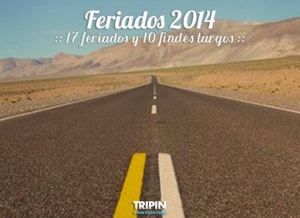 Feriados 2014 en Argentina, 17 Feriados y 10 Findes Largos
