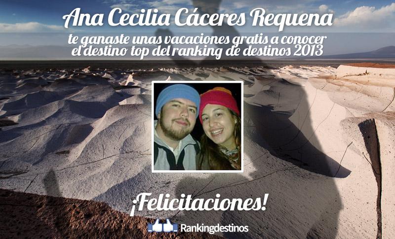 Ana Cecilia Cáceres Requena la flamante ganadora de las vacaciones al destino top del ranking de destinos 2013
