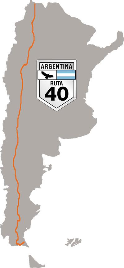 La mitica ruta 40 de norte a sur; de sur a norte, recorre toda la extensión de argentina
