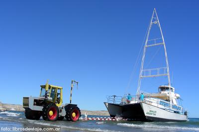Libros de viaje con los tractores acuáticos de Península Valdés