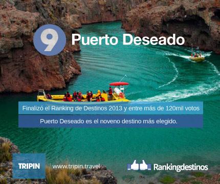 Puerto Deseado es el noveno destino más votado del Ranking 2013