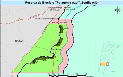 El mapa de lo que seria la reserva de biosfera más grande de Argentina, la Reserva Azul en Chubut