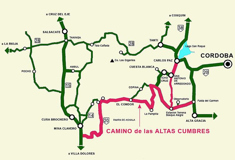 Mapa del Camino de las Altas Cumbres