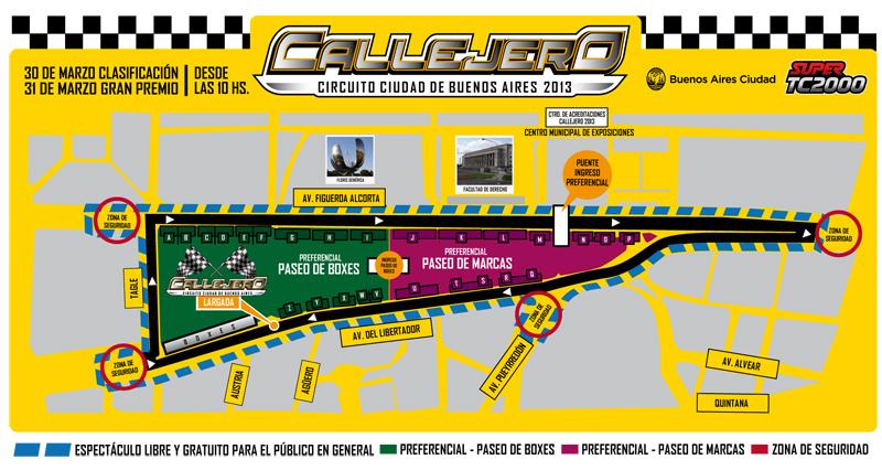 Mapa circuito callejero tc2000 buenos aires 2013